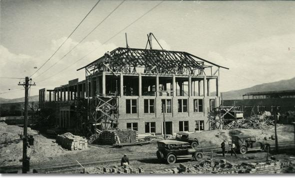 Roof framing being built on Roberts Hall