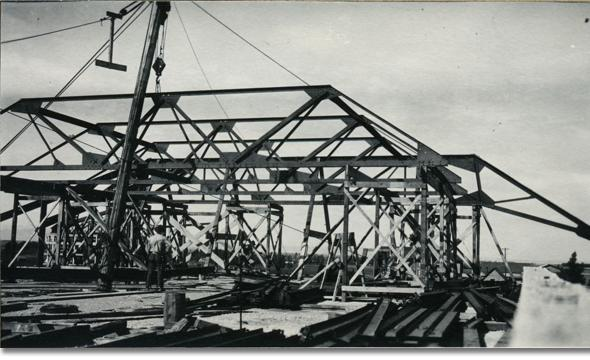 Roof framing of Roberts Hall