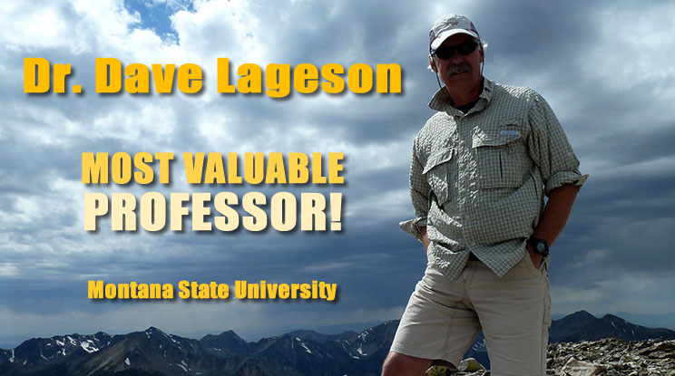 "Dr. Dave Lageson was honored as the ""Most Valuable Professor"" 