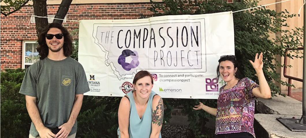 The Compassion Project Volunteers with the banner at Catapalooza